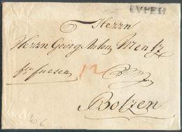 LAC D' EVPEN (griffe Noire) Le 27 Juin 1788 + Man. Fco Fuesen Vers Botzen + (à La Craie Rouge) Port De 12 (Kr.) - 15863 - 1714-1794 (Austrian Netherlands)