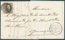N°10A - Médaillon 10 Centimes Brun, TB Margé Et Voisin à Gauche, Obl. P.107 Sur Lettre DeMANAGEle 28 Juin (mois Renver - 1858-1862 Medallones (9/12)