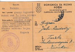 "Croatia WWII NDH Military Postal Card, Sent From ""RATNI SUD 3.LOVAČKOG ZDRUGA"", Rare Card! - Croatia"