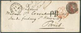 N°12A - Médaillon 40 Centimes Vermillon, Légèrement Touché, Obl. P.24 Sur Enveloppe DeBRUXELLESle 2-10-1860 Vers Paris - 1858-1862 Médaillons (9/12)
