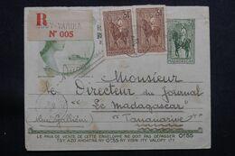 MADAGASCAR - Entier Postal En Recommandé De Nossy-Varika Pour Tananarive En 1933, Compléments Recto /verso  - L 64926 - Madagascar (1889-1960)