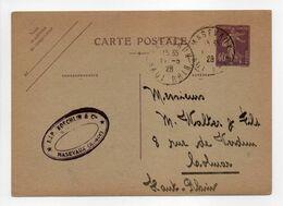 - CARTE POSTALE MASEVAUX Pour COLMAR (Haut-Rhin) 11.5.1928 - 40 C. Violet Type Semeuse Camée - - Entiers Postaux
