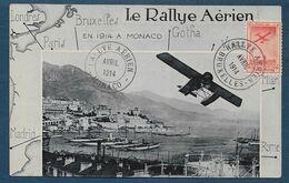 Carte Du Rallye Aérien BRUXELLES MONACO  Avril 1914 - Luftpost