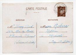 - CARTE POSTALE VILLENEUVE-SAINT-GEORGES Pour MENAT (Puy-de-Dôme) 20.12.1941 - 80 C. Brun Type Hourriez - - Entiers Postaux
