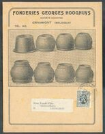 5 C. Lion Obl. Sc BRUXELLES 16-VII-1930 Sur Carte Folio Publicitaire Fonderies Georges HOOGHUYS (articles De Poêlerie Ga - 1929-1937 Lion Héraldique