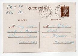 - CARTE POSTALE VILLENEUVE-SAINT-GEORGES Pour MENAT (Puy-de-Dôme) 6.1.1942 - 80 C. Brun Type Hourriez - - Entiers Postaux