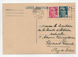- CARTE POSTALE STRASBOURG Pour CLERMONT-FERRAND 9.12.1948 - Bel Affranchissement Marianne De Gandon - - Entiers Postaux
