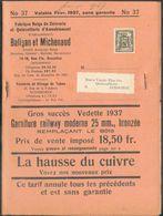 10 C. PREO Petit Sceau De L'ETAT 1937 Surcharge BRUXELLES 1937 BRUSSEL Sur Livre Publicitaire Baligan Et Michenaud Ruys - Typos 1936-51 (Kleines Siegel)