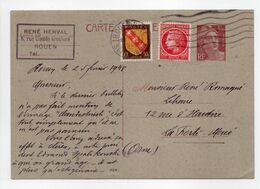- CARTE POSTALE ROUEN Pour LA FERTÉ-MACÉ 26.2.1948 - Bel Affranchissement Philatélique - A ETUDIER - - Entiers Postaux