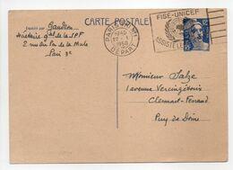 - CARTE POSTALE PARIS Pour CLERMONT-FERRAND 22.1.1950 - 12 F. Bleu Type Marianne De Gandon - - Entiers Postaux