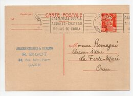 - CARTE POSTALE LIBRAIRIE BIGOT, CAEN Pour LA FERTÉ-MACÉ 5.8.1952 - 12 F. Orange Type Marianne De Gandon - - Entiers Postaux
