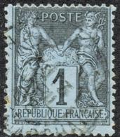 SAGE T.II  N° 84b BLEU DE PRUSSE PÂLE  OBLITERE CAD  B  SIGNE  COTE > 2800 € - 1876-1898 Sage (Type II)