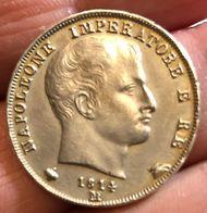 Napoleone I Re D'Italia, 1805-1814. Lira 1814, Puntali Sagomati Gig 171a Rara SPL Melagrana E Coppa Più Grandi D.856 - Napoleonic