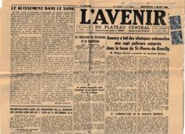 Militaria Guerre 39-45 L'AVENIR DU PLATEAU CENTRAL Journal Collaborationniste 8 Mars 1942 'Annecy, Vichy, Montluçon,...) - Historical Documents