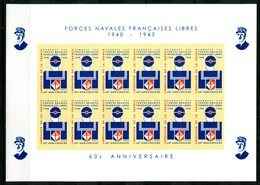 Thème Général De Gaulle - Bloc Feuillet ND 12 Vignettes Forces Navales Françaises Libres 1943-2003 - Lot 231 - De Gaulle (Général)