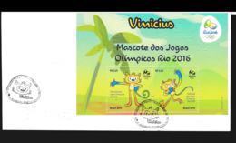 Brazil FDC 2016 Rio De Janeiro Olympic Games Souvenir Sheet With Mascots (NB**LAR7-5) - Summer 2016: Rio De Janeiro