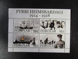 Faroe Islands 2014 Bl. First World War 100 Years MNH** - Faeroër