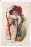 CPA FANTAISIE ILLUSTRATEUR - Portrait Enfant Chapeau Manteau Parapluie - Künstlerkarten