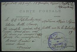 Place De Vincennes 1917 26e Bataillon De Chasseurs à Pied,dépôt D'isolés, Cachet Sur Carte Pour Toulouse - Guerra Del 1914-18
