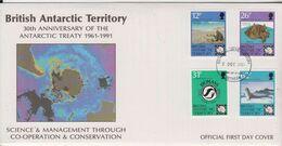 British Antarctic Territory (BAT) 1991 30th Anniversary Antarctic Treaty  4v FDC (BA156) - FDC