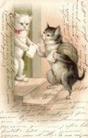 Animaux Humanisés - Deux Chats: Facteur Distribuant Le Courrier - Illustration A. Flydon - Carte Dos Simple - Cats