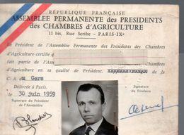 (Gers) Carte De Membre De L'Assemblée Des Présidents Des Chambres D'agriculture 1959 (PPP23459) - Unclassified