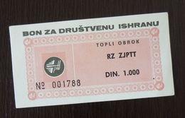 Yugoslavia Serbia 1000 Dinara Bon Coupon  C1 - Collections, Lots & Séries