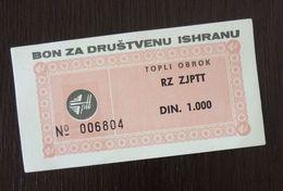 Yugoslavia Serbia 1000 Dinara Bon Coupon  C2 - Collections, Lots & Séries