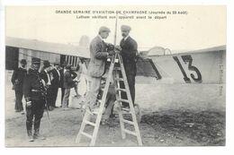 Cpa.Reims.semaine D'aviation De Champagne (journée Du 23 Aout 1909).Latham Vérifiant Son Appareil Avant Le Départ.animée - Aviateurs