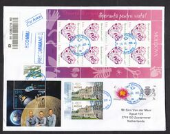 Moldova: Registered Cover To Netherlands, 2020, 14 Stamps, Souvenir Sheet, Organ Donation, Space, Apollo (traces Of Use) - Moldavia
