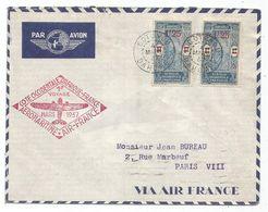 DAHOMEY 1FR25X2 LETTRE AVION DAGUIN COTONOU 4 MARS 1937 POUR PARIS AEROMARITIME - Dahomey (1899-1944)