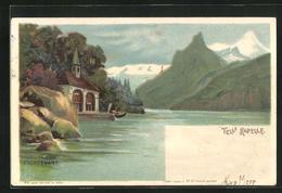 Lithographie Seelisberg, Tells Kapelle Am Seeufer, Halt Gegen Das Licht: Blitze über Dem Aufgewühlten See - UR Uri