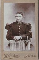 CDV  Militaria (avant 1900) Portrait D'un Militaire Du 115ème RI épaulettes Dague Par Gautier Mamers (72) - Photos