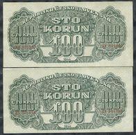 CZECHOSLOVAKIA - 100 Korun 1944 X 2 Pcs. Consecutive Serial Nr. - P-48 - Price Per Lot - Tchécoslovaquie