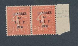 FRANCE - PAIRE N°YT 264 NEUVE* AVEC CHARNIERE - SIGNEE - CONGRES SANS ACCENT - 1930 - Neufs