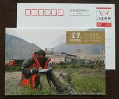 Landslide,Collapsed Houses,China 2009 First Anniversary Album Of Wenchuan Earthquake Disaster Relief Pre-stamped Card - EHBO