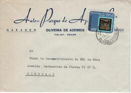 Auto Parque De Azemeis , Commercial Cover  , 1972  Oliveira De Azemeis  Postmark , Cidade De Pinhel Coat Of Arms Stamp - Advertising