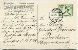 """ALLEMAGNE CARTE POSTALE """" OLYMPIA=GLOCKE FUR DIE OLYMPIFCHEN SPIELE IN BERLIN 1936 """" DEPART BERLIN 14-8-36 POUR......... - Sommer 1936: Berlin"""