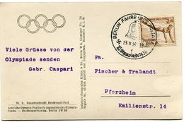 ALLEMAGNE CARTE POSTALE AVEC L'EMBLEME DES JEUX OLYMPIQUES DEPART BERLIN 13-8-36 POUR L'ALLEMAGNE - Sommer 1936: Berlin