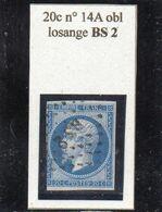 Paris - N° 14A (entamé) Obl Losange BS2 - 1853-1860 Napoleone III