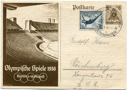 "ALLEMAGNE ENTIER POSTAL "" OLYMPIFCHE SPIELE 1936...."" AVEC AFFRANCHISSEMENT COMPLEMENTAIRE DEPART BERLIN 11-8-36 POUR... - Sommer 1936: Berlin"