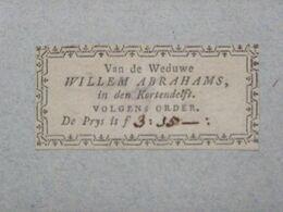 Ex-libris Typographique XVIIIème - BELGIQUE - Van De Weduwe WILLEM ABRAHAMS, In Den Kortendelft - Ex-libris