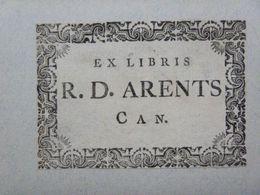 Ex-libris Typographique XVIIIème - BELGIQUE - R. D. ARENTS (chanoine) - Ex-libris