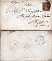 Great Britain 1850 Postal History Rare 1d Red Cover Dublin - Sheffield D.1089 - 1840-1901 (Regina Victoria)
