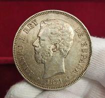 España Duro 5 Pesetas Amadeo I - 1871 *74 DEM Km 666 Plata - [ 1] …-1931 : Reino