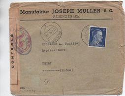 1944 - ENVELOPPE De REININGEN Avec CENSURE MILITAIRE - Guerra De 1939-45