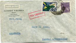 """BRESIL LETTRE PAR AVION """" VIA CONDOR """" DEPART SAO PAULO 3 XII 36 POUR L'ALLEMAGNE - Luchtpost"""