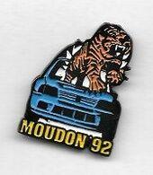 Pin' S  Ville  SUISSE  MOUDON, Automobile  PEUGEOT  205 G T I  Tigre  Bleu, Rallye  205  Turbo 16  MOUDON  92 - Rally