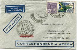 "BRESIL LETTRE PAR AVION "" VIA CONDOR "" AVEC CACHET ""...CONDOR ZEPPELIN..."" DEPART RIO DE JANEIRO ?-?-1935 POUR.......... - Luchtpost"