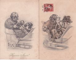 CPA CHIEN ,2 Cartes M.M.VIENNE N°393. - Hunde
